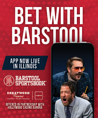 "smartphone with Big Cat and Dave Portnoy and text: ""Bet with Barstool / App Now Live in Illinois"" / Barstool Sportsbook, Hollywood Casino Joliet & mychoice logos / Offered in partnership with Hollywood Casino Aurora"